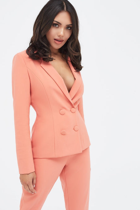 Double Breasted Self Fabric Button Blazer in Papaya