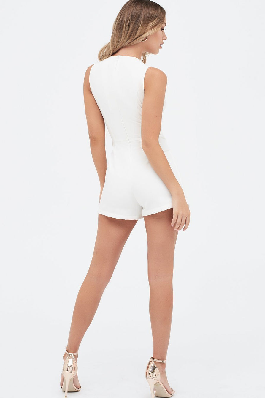 Self Fabric Buckle Detail Wrap Playsuit in White