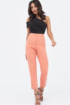 Self Fabric Button Detail Tapered Trouser in Papaya