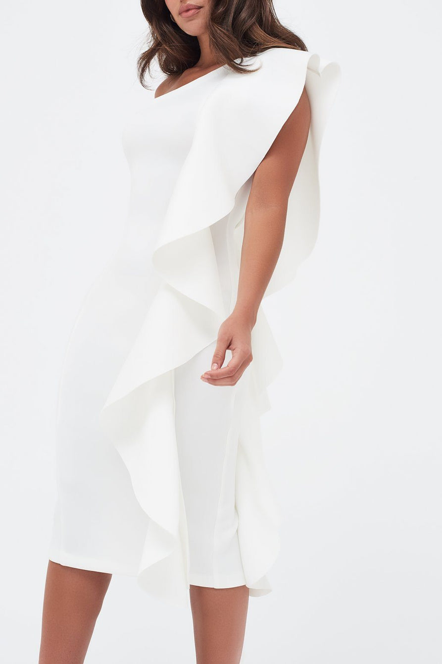 One Shoulder Scuba Exaggerated Frill Midi Dress in White