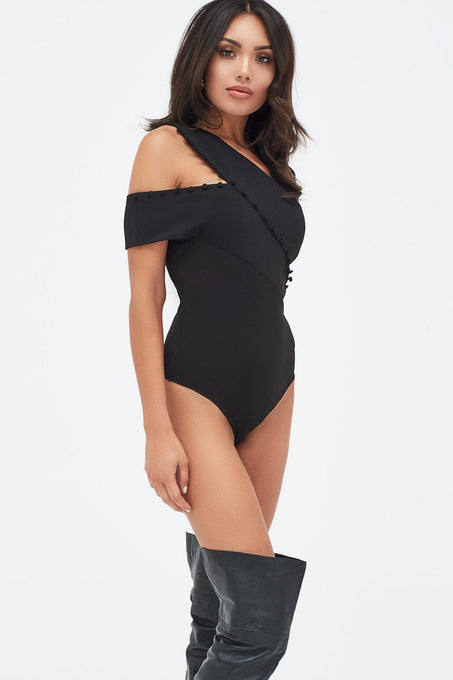 Button Detail One Shoulder Bodysuit in Black