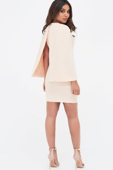 Cape Mini Dress With Eyelet Detail Belt in Nude