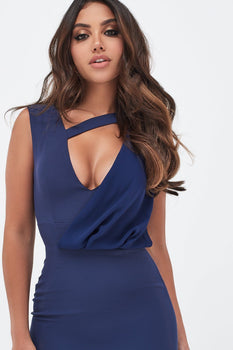 Drape Layer Midi Dress With Strap Detail In Navy