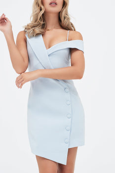 Off Shoulder Tailored Mini Dress With Button Detail in Light Blue