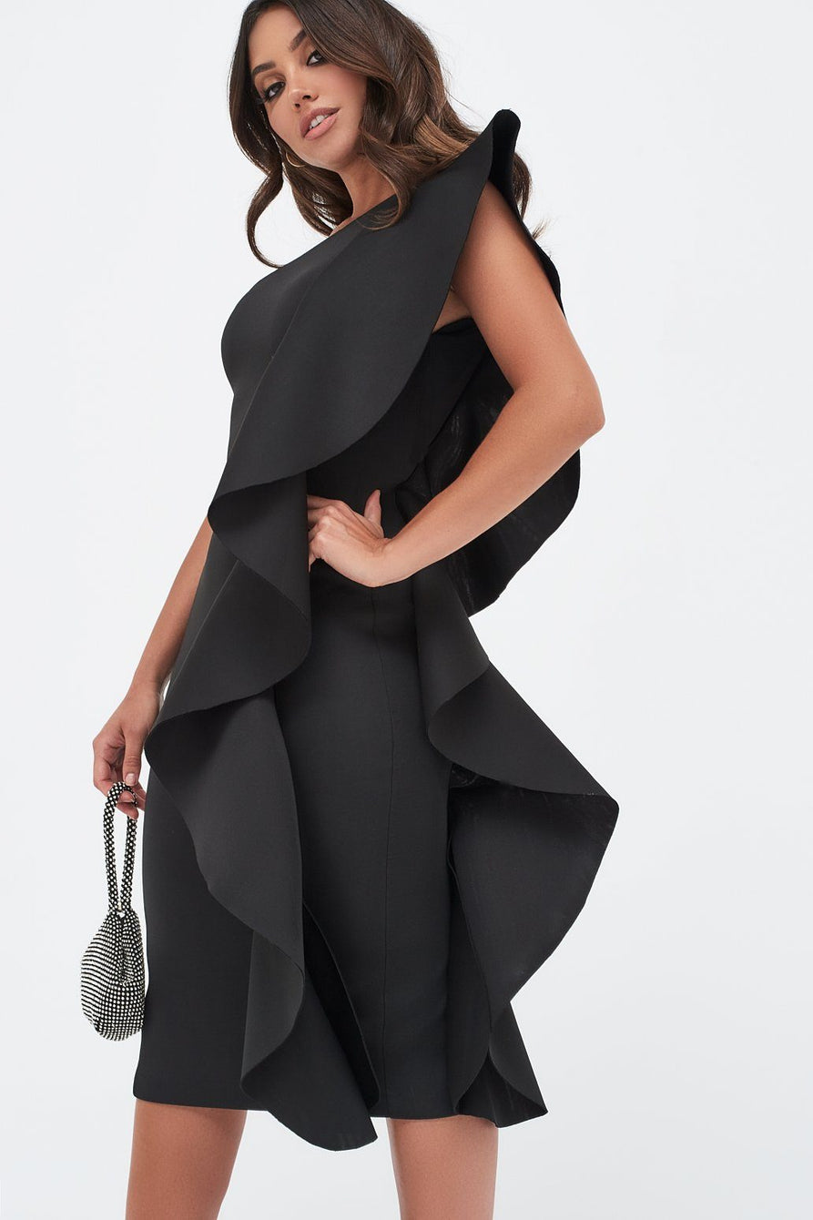 One Shoulder Scuba Exaggerated Frill Midi Dress in Black