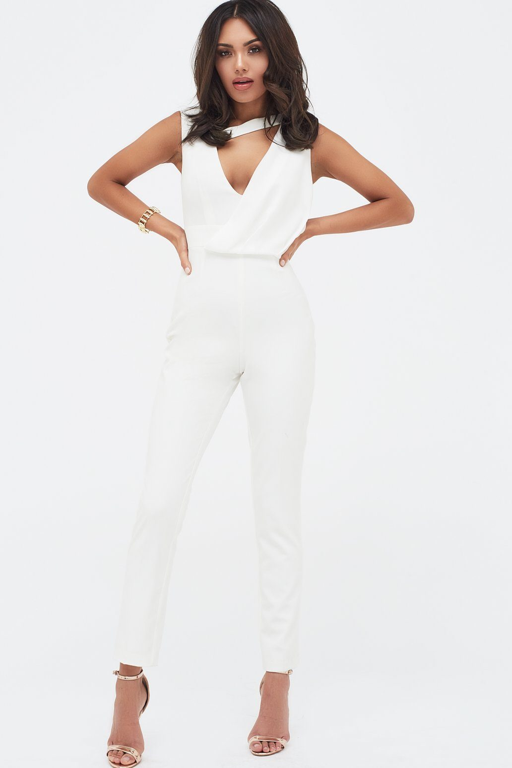 Drape Layer Tapered Jumpsuit in White