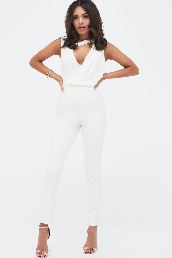 238f5640038c Drape Layer Tapered Jumpsuit in White ...