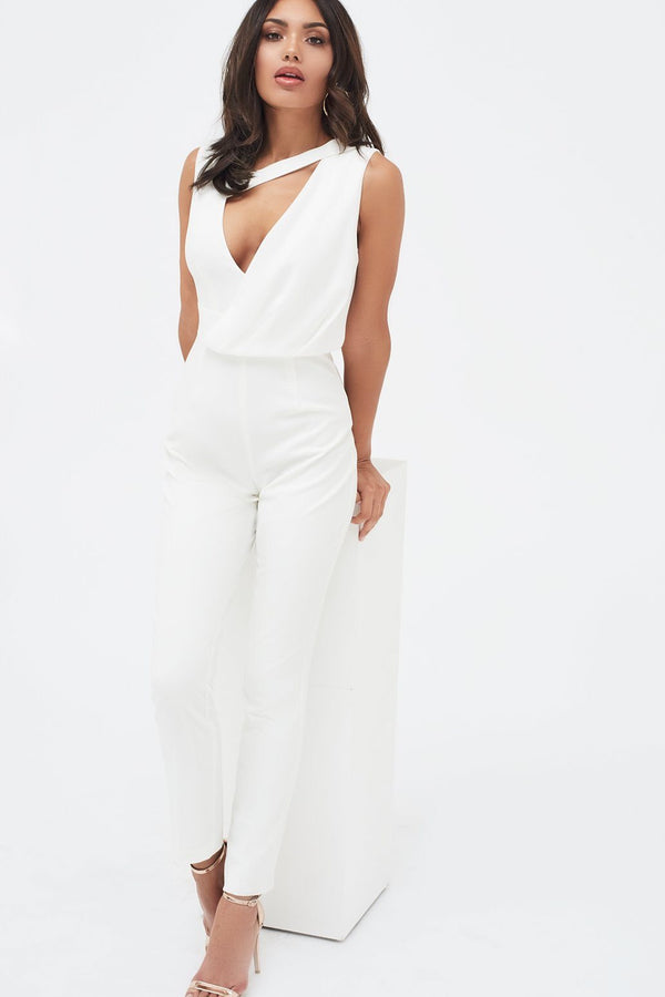 28e333d67b0 Drape Layer Tapered Jumpsuit in White Drape Layer Tapered Jumpsuit in White
