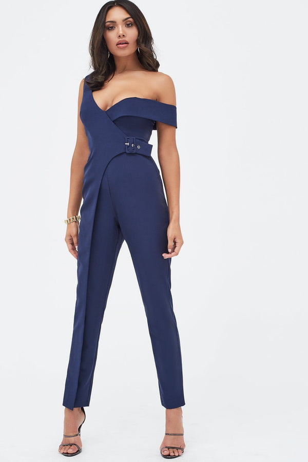 96ae6f827a1f Buckle Trim Wrap Jumpsuit in Navy ...