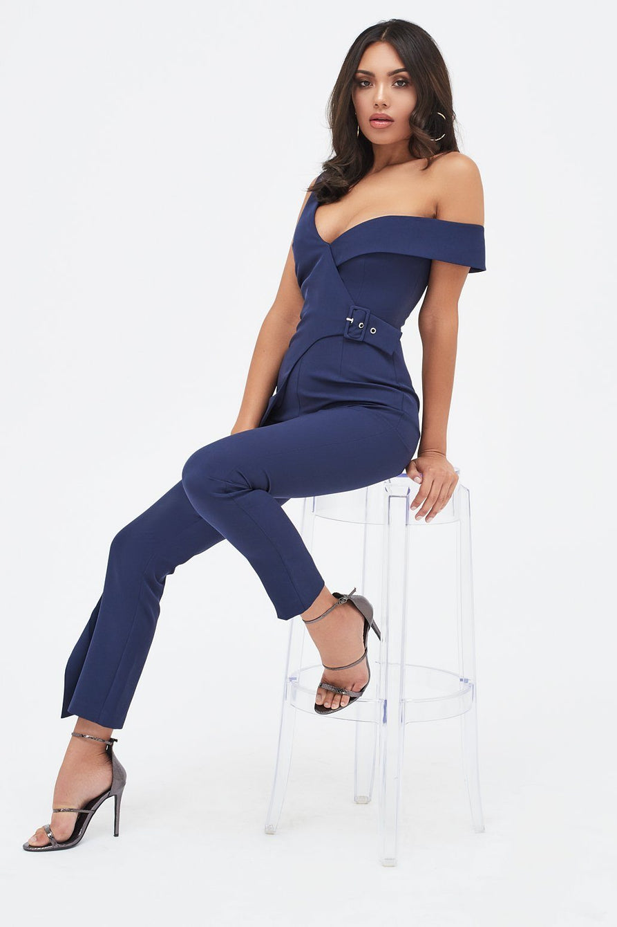 Buckle Trim Wrap Jumpsuit in Navy
