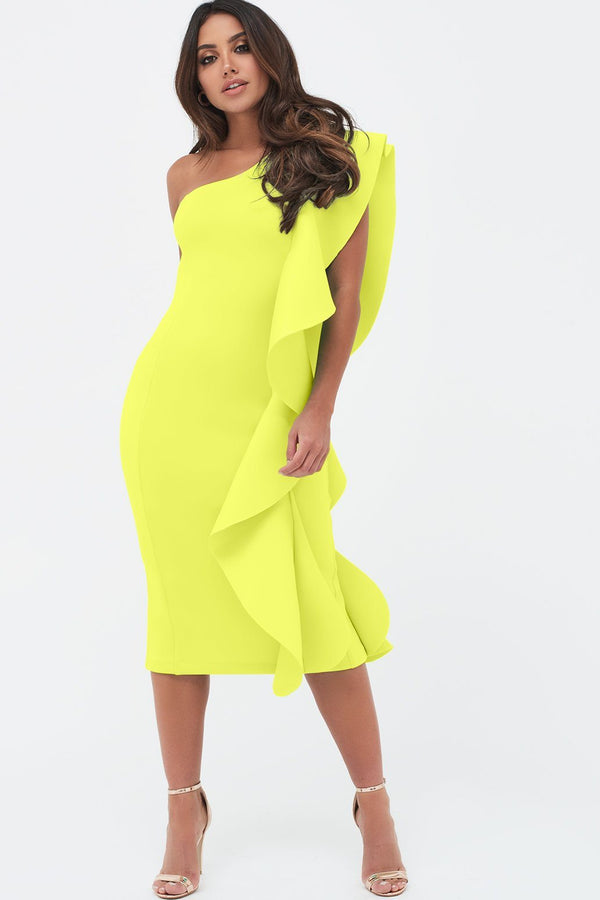 1a67fb484ba One Shoulder Scuba Exaggerated Frill Midi Dress in Neon Yellow ...