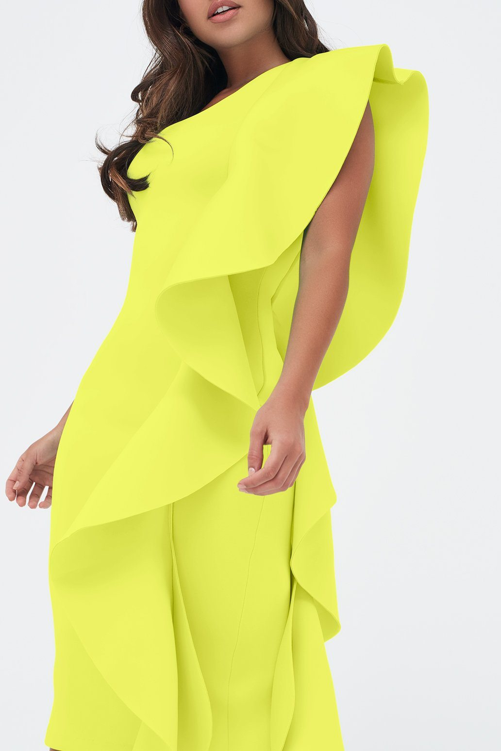One Shoulder Scuba Exaggerated Frill Midi Dress in Neon Yellow