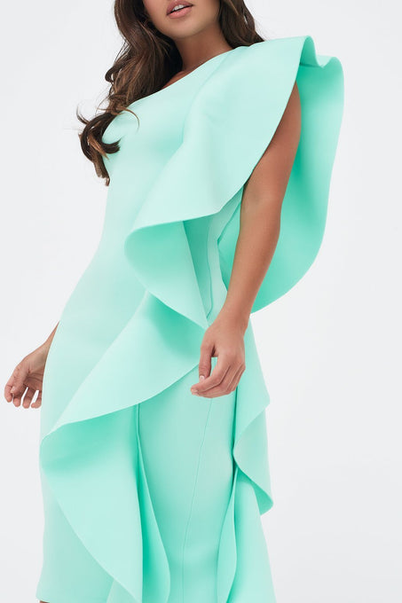 One Shoulder Scuba Exaggerated Frill Midi Dress in Mint