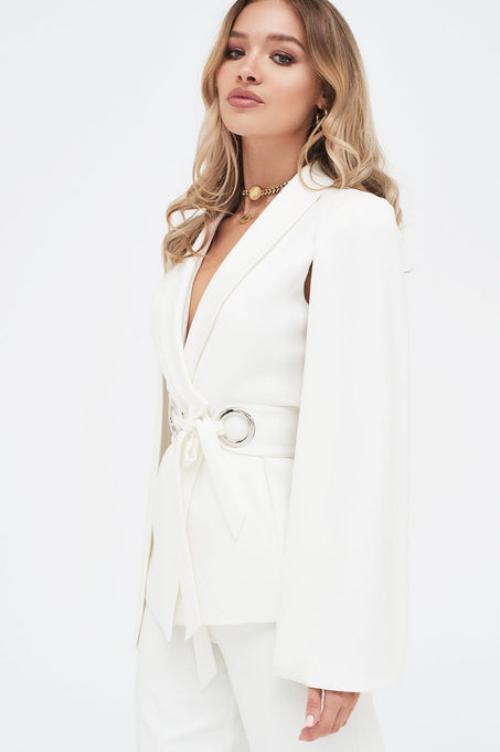 Cape Jacket With Hardware Eyelet Trim Belt in White