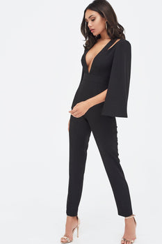 Cut Out Neck Cape Jumpsuit in Black