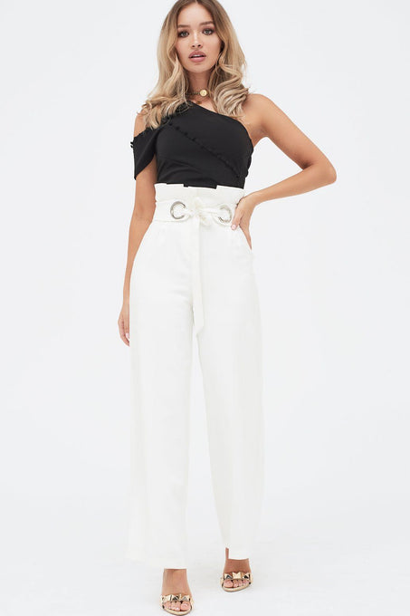Paperbag Wide Leg Trouser With Hardware Eyelet Trim Belt in White