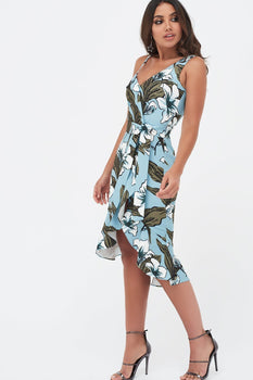 One Shoulder Ruffle Wrap Dress With Belt in Floral Print