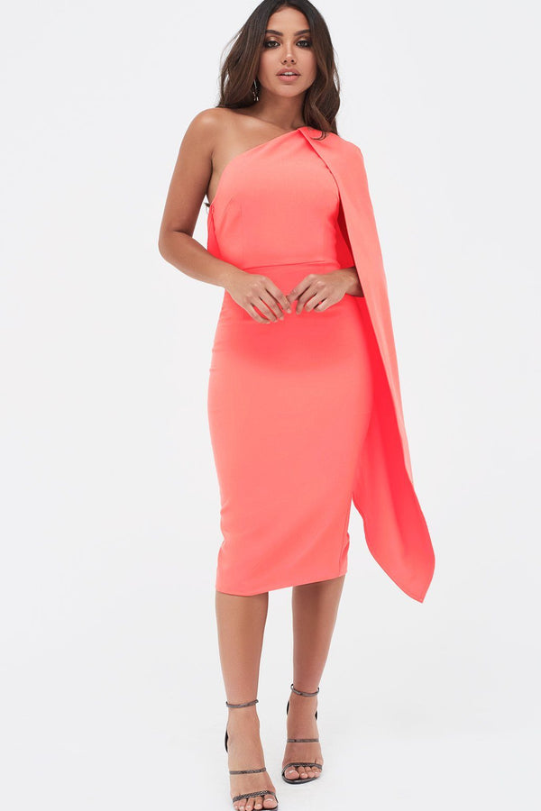e268cd3a6ec0 One Shoulder Cape Midi Dress in Neon Coral ...