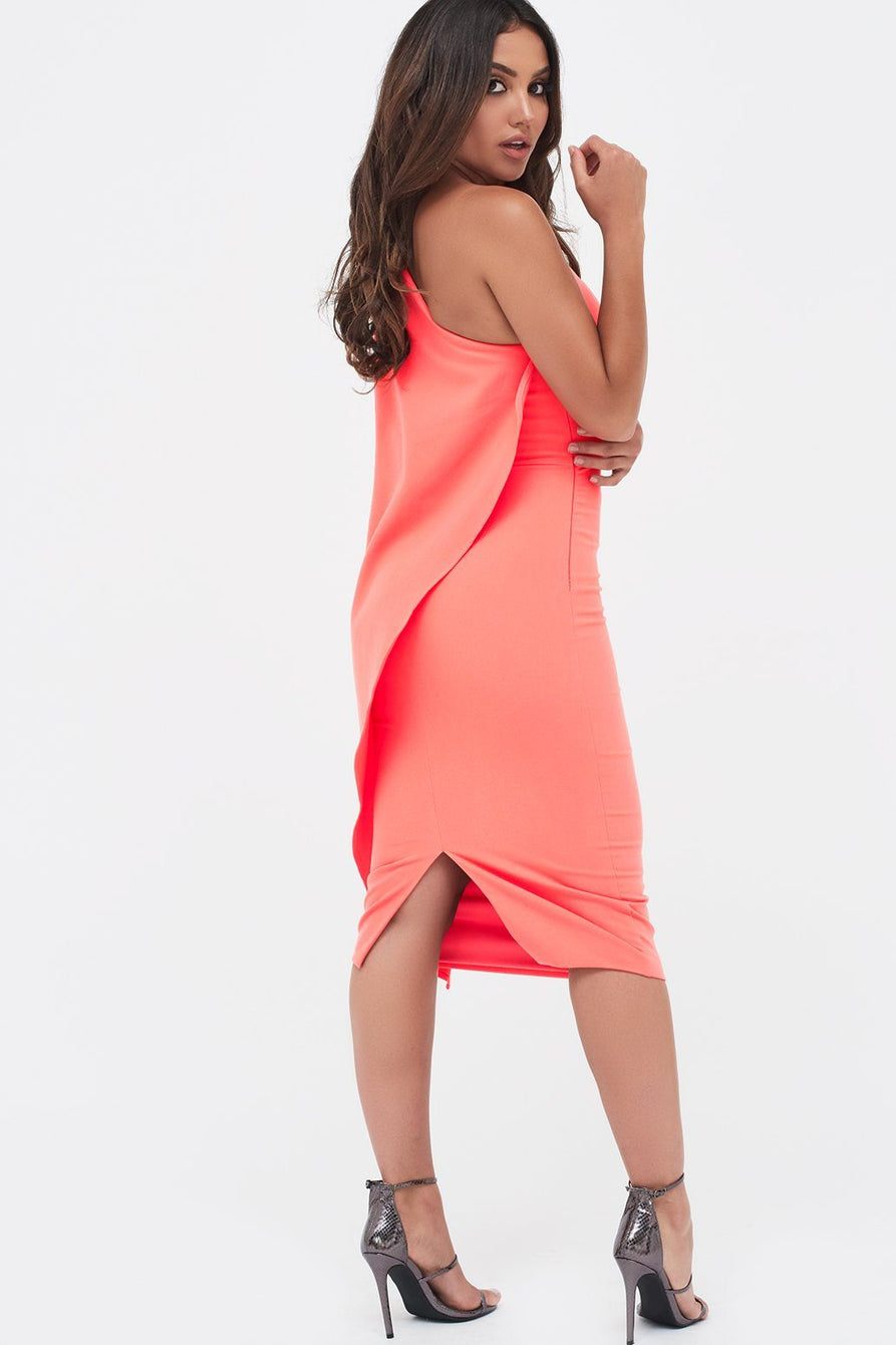 One Shoulder Cape Midi Dress in Neon Coral