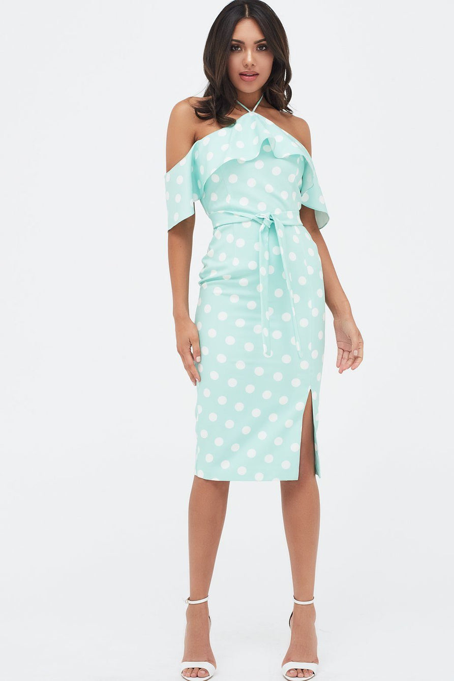 Bardot Draped Frill Midi Dress With Side Split in Mint Polka Dot