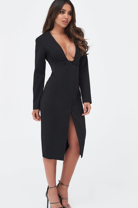 Square Neck Buttoned Wrap Midi Dress in Black