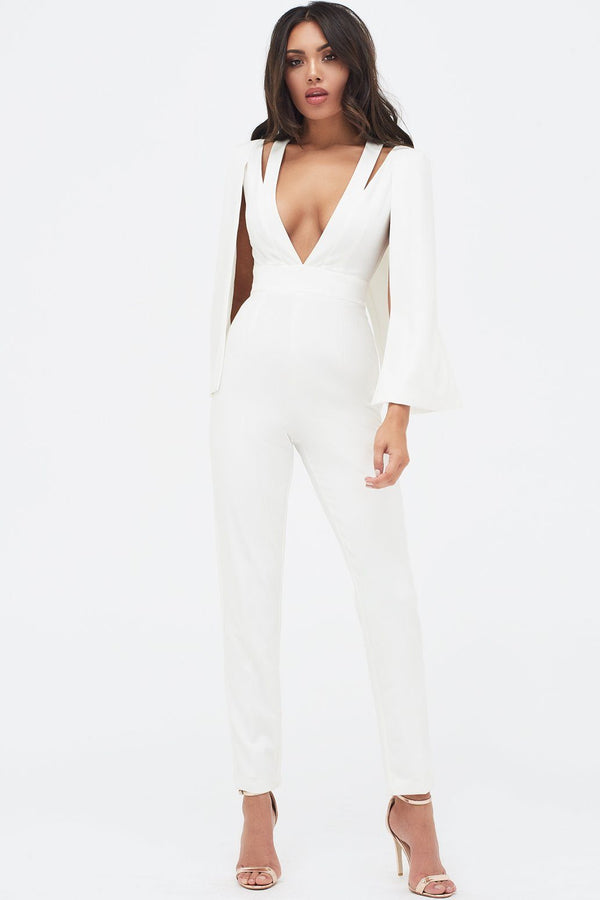 c7196f3f8d2 ... Cut Out Neck Cape Jumpsuit in White