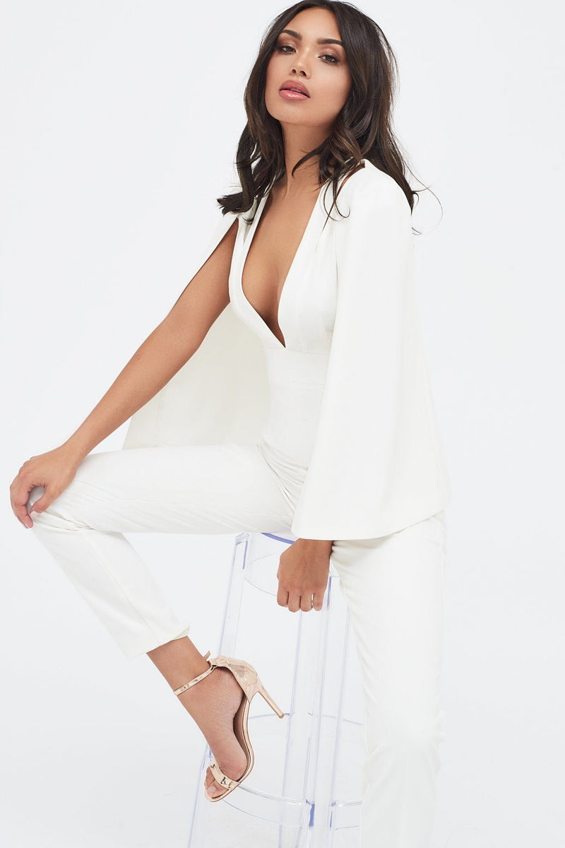Cut Out Neck Cape Jumpsuit in White