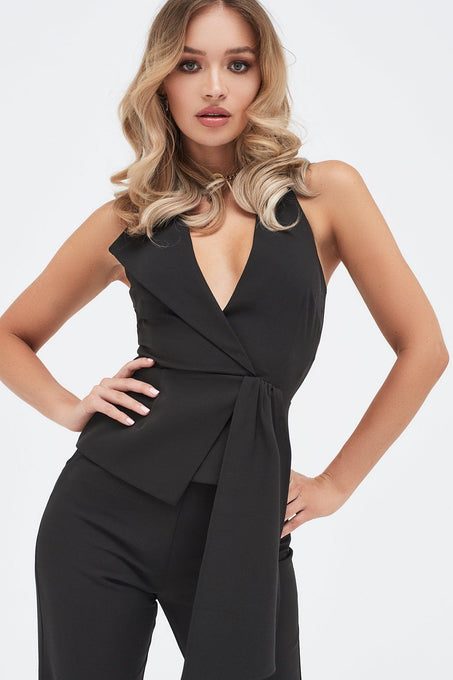 Halterneck Fold Over Lapel Top in Black