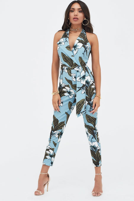 Halterneck Tailored Jumpsuit in Floral Print