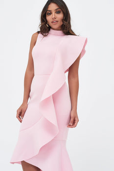 Extreme Frill Peplum Hem Scuba Midi Dress In Pink