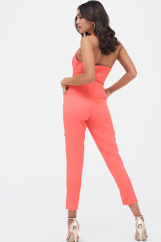 Halterneck Tailored Jumpsuit in Neon Coral