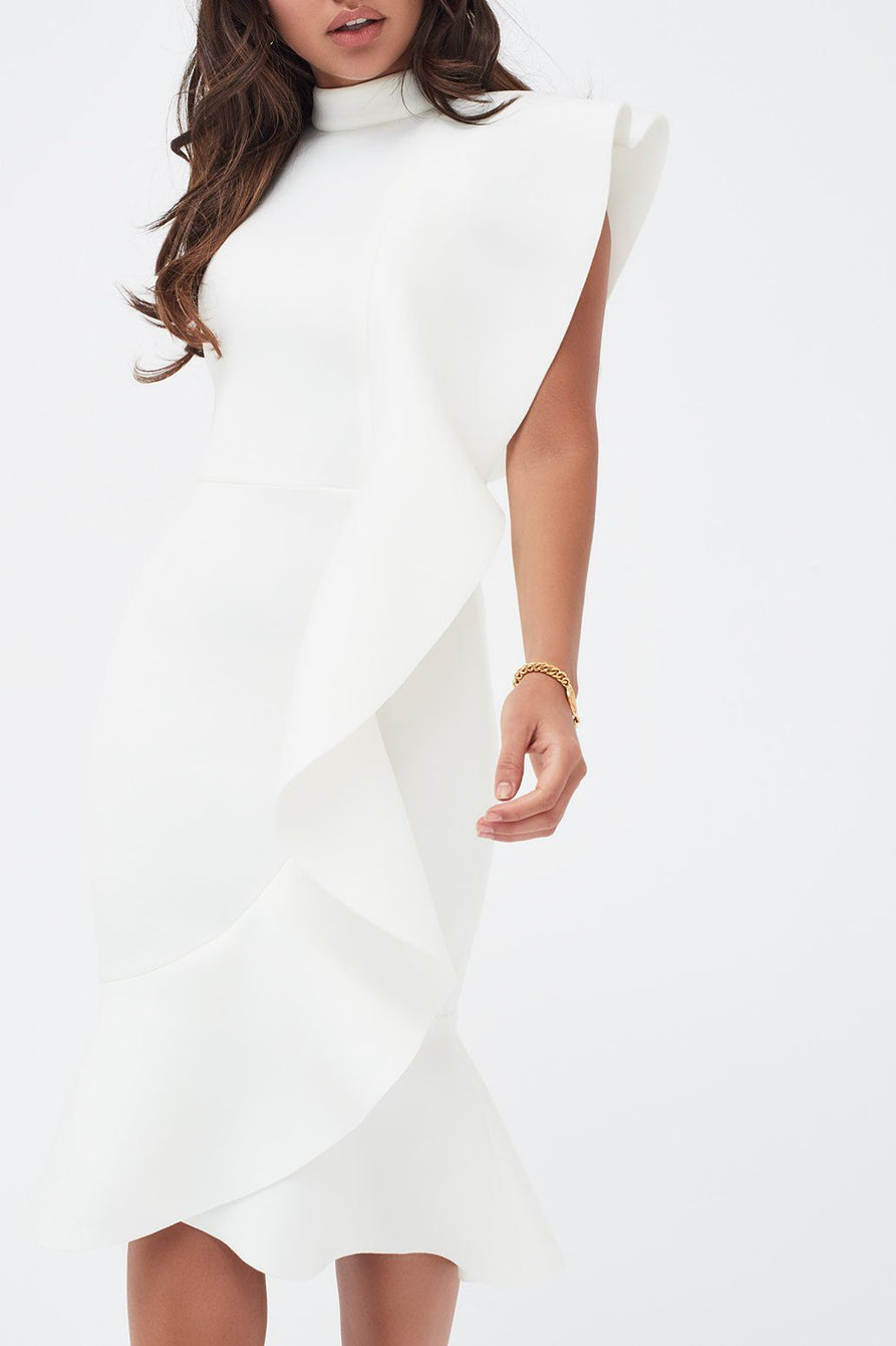 Extreme Frill Peplum Hem Scuba Midi Dress in White