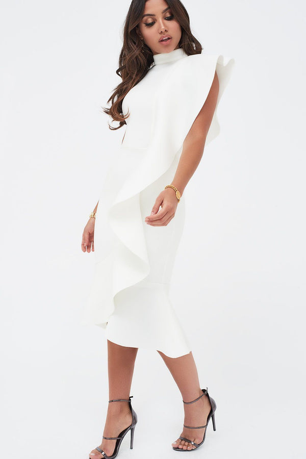 f475348d3ef Extreme Frill Peplum Hem Scuba Midi Dress in White ...