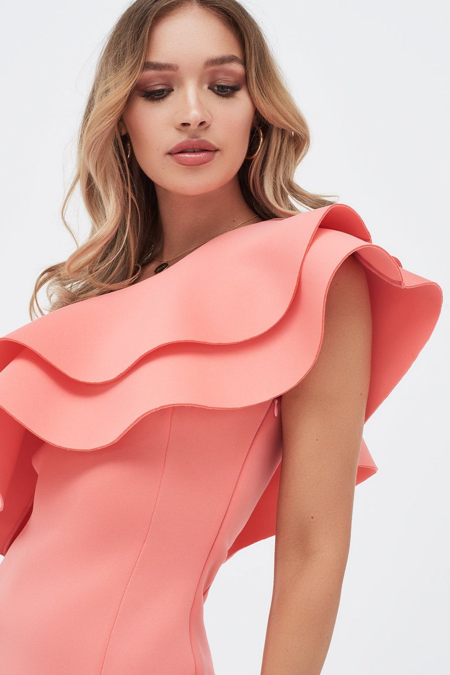 Double Ruffle Off Shoulder Scuba Dress in Papaya