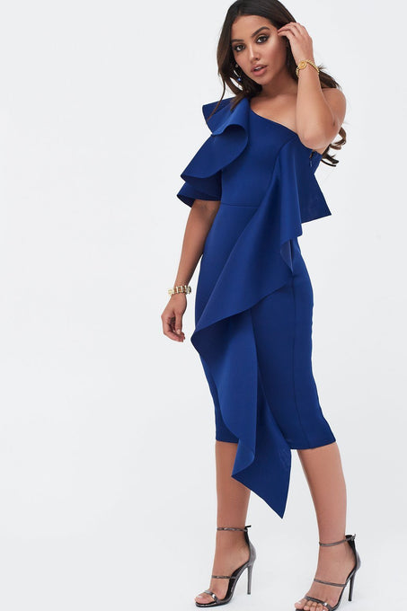 Folded Cold Shoulder Scuba Midi With Waterfall Frill In Cobalt