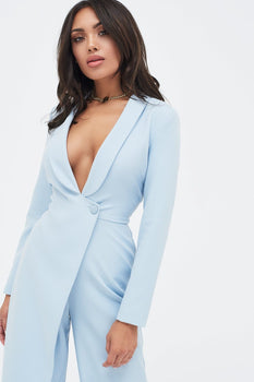 Tailored Wrap Over Wide Leg Jumpsuit in Light Blue