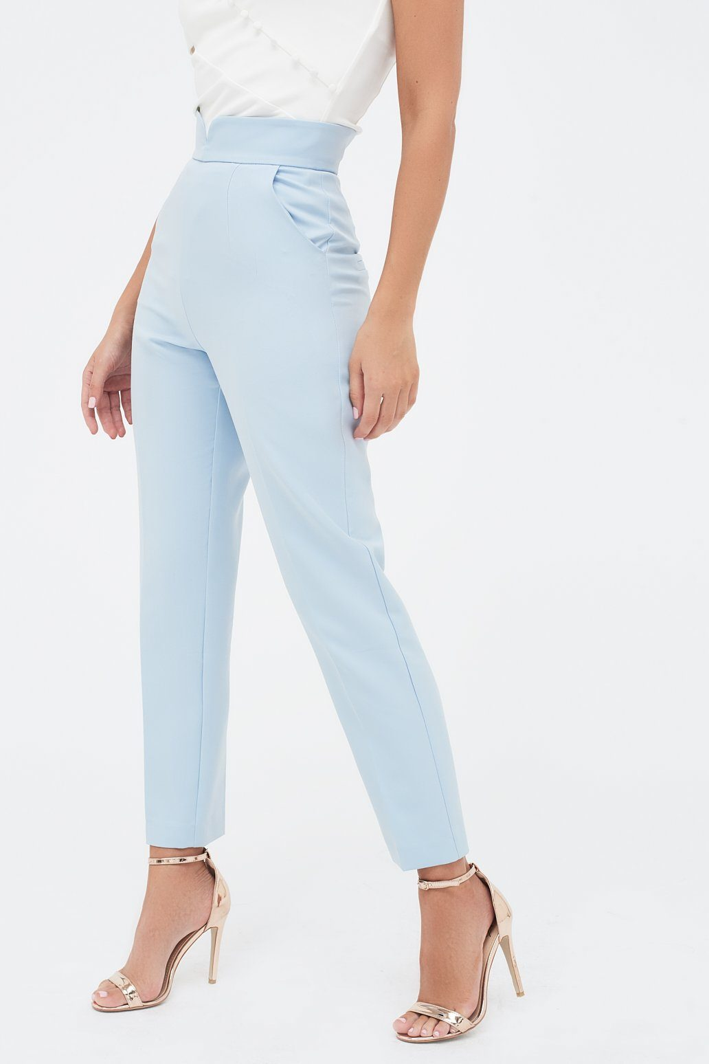 Notched Waistband Tailored Trousers in Light Blue