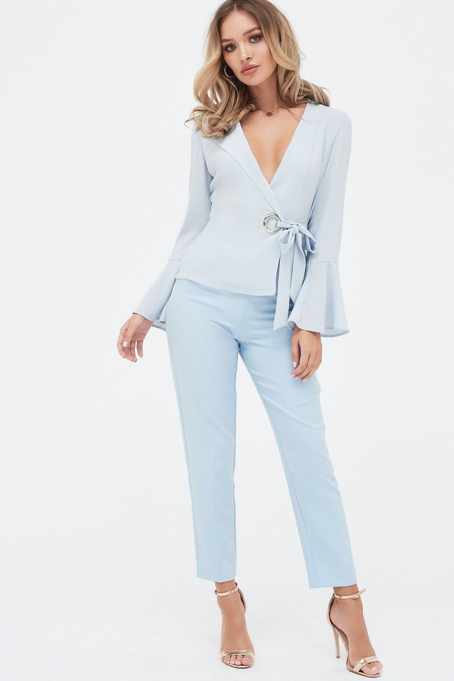 Statement Hardwear Eyelet Detail Wrap Top With Flute Sleeve in Light Blue