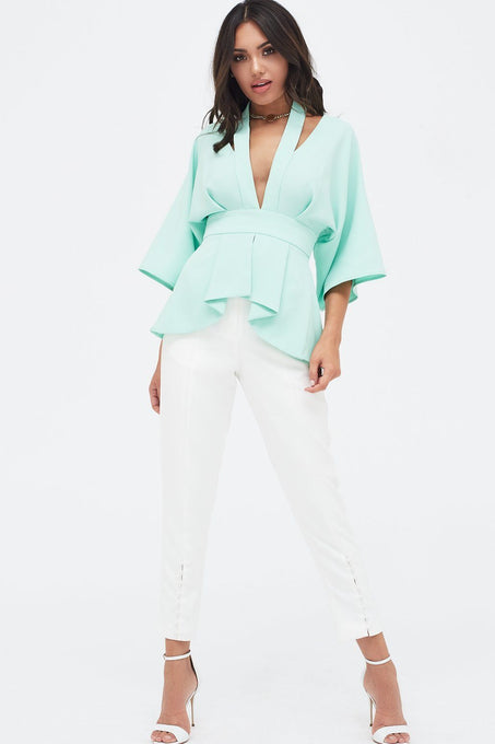 Cut Out Shoulder Kimono Sleeve Top in Mint