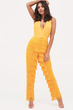 Halterneck Fringe Jumpsuit in Golden Yellow