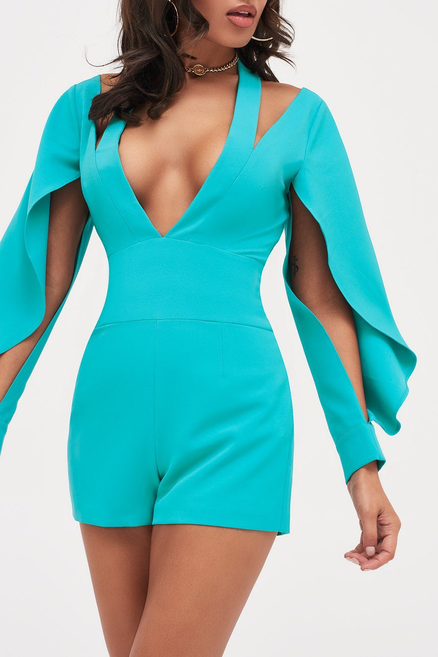 Cut Out Neck Origami Folded Sleeve Playsuit in Turquoise