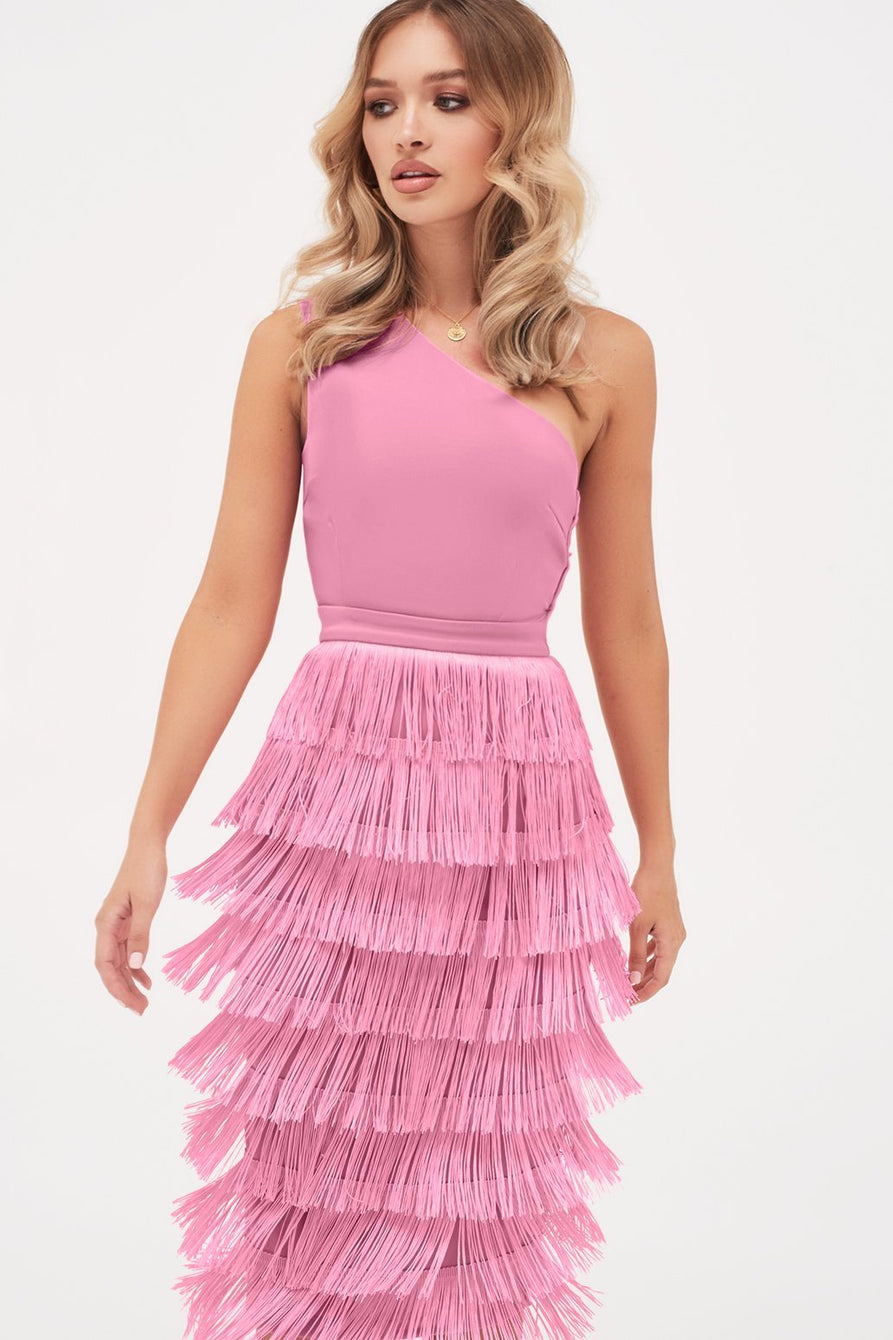 One Shoulder Fringe Midi Dress in Pink