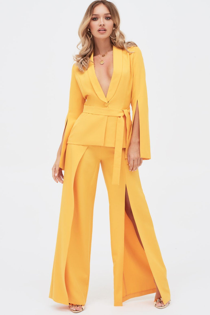 Split Sleeve Shawl Collar Belted Jacket in Golden Yellow