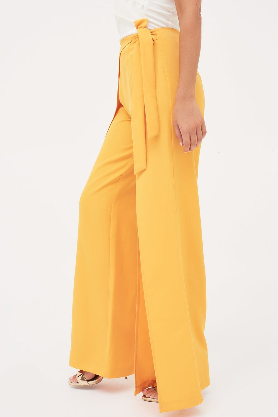 High Split Belted One Side Wide Leg Trouser in Golden Yellow