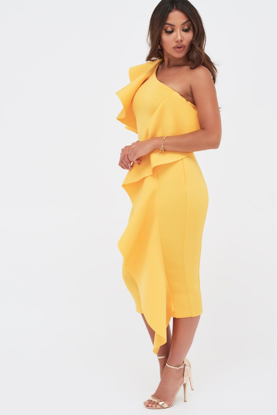 Folded Cold Shoulder Scuba Midi With Waterfall Frill In Golden Yellow