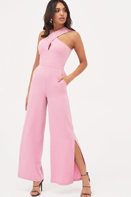 Wrap Front Wide Leg Jumpsuit in Pink