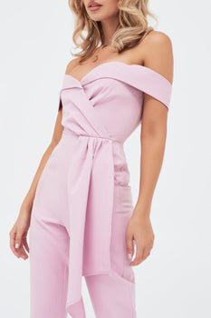 Pleated Bardot And Draped Belt Tailored Jumpsuit in Lilac