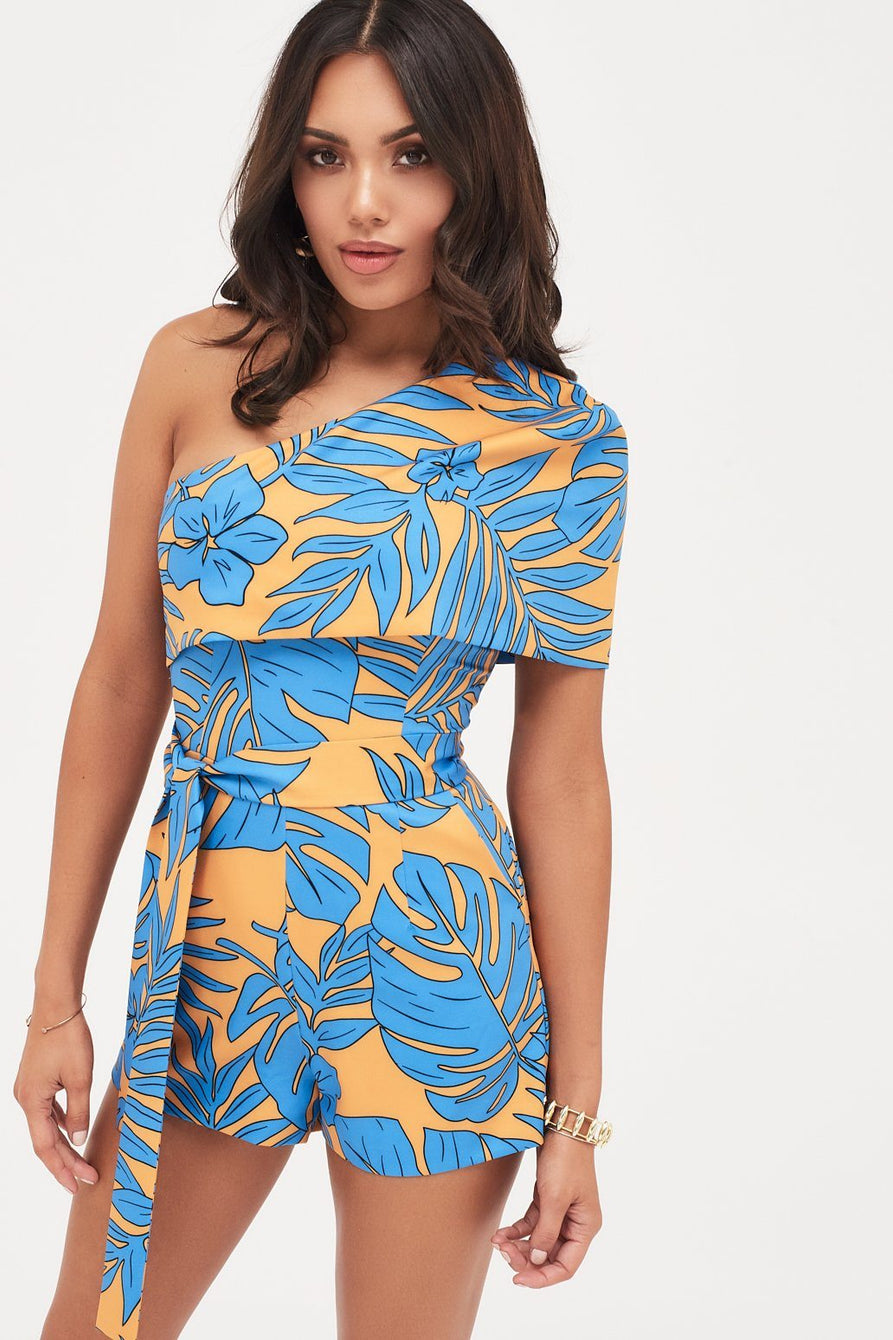 One Shoulder Cape Playsuit In Palm Print