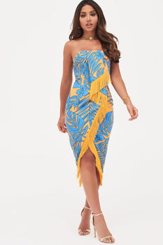 Origami Folded Bandeau Midi Dress With Fringe Trim In Palm Print