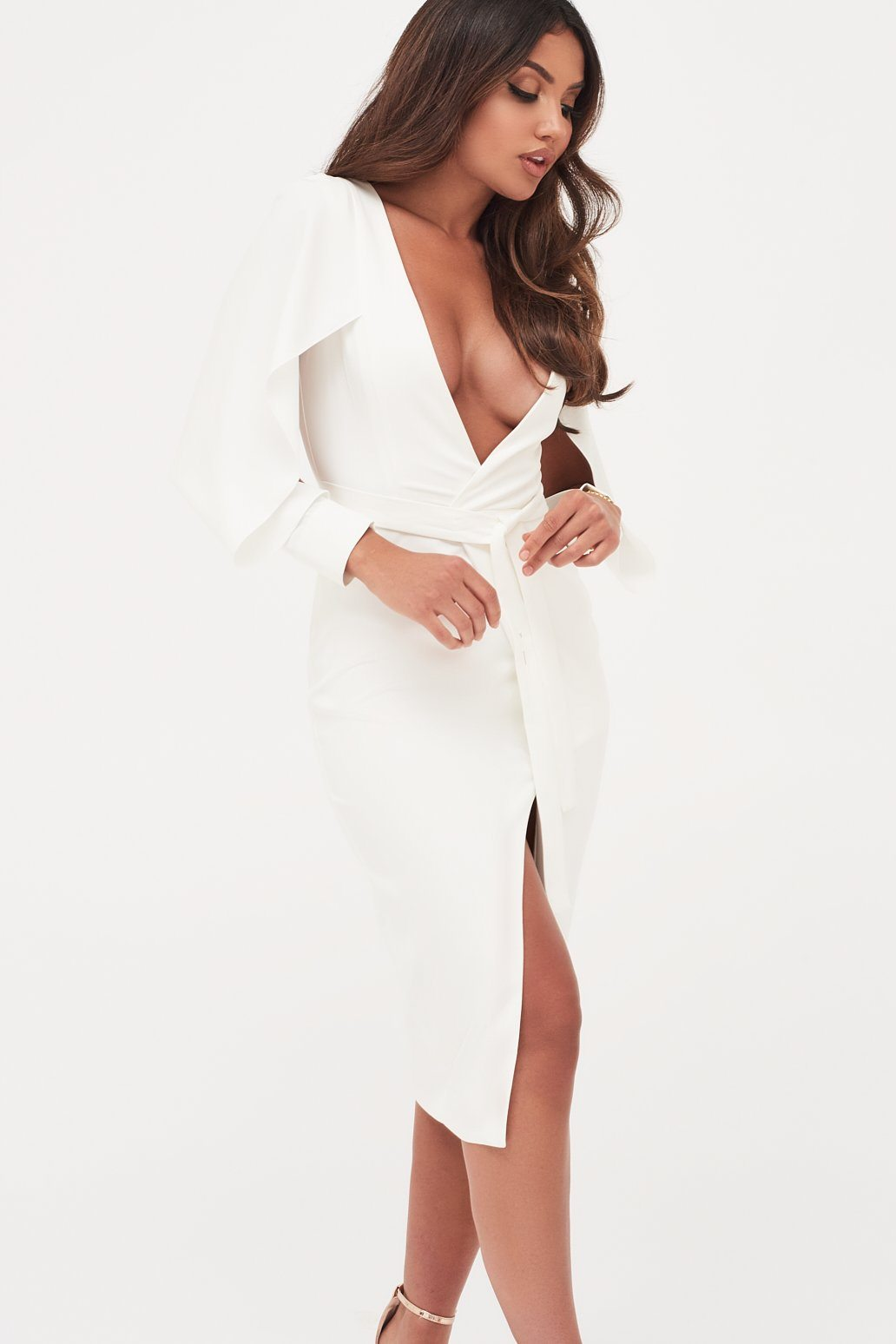 Folded Origami Sleeve Belted Wrap Dress in White